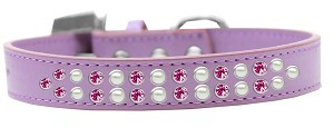 Two Row Pearl and Pink Crystal Size 18 Lavender Dog Collar
