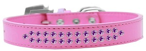 Two Row Purple Crystal Size 18 Bright Pink Dog Collar