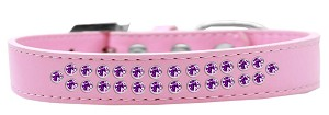 Two Row Purple Crystal Size 14 Light Pink Dog Collar