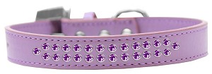 Two Row Purple Crystal Size 12 Lavender Dog Collar