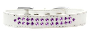 Two Row Purple Crystal Size 20 White Dog Collar