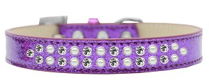Two Row Pearl and Clear Crystal Size 20 Purple Ice Cream Dog Collar