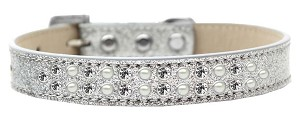 Two Row Pearl and Clear Crystal Size 14 Silver Ice Cream Dog Collar