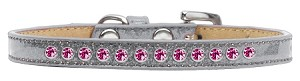 Bright Pink Crystal Size 10 Silver Puppy Ice Cream Collar