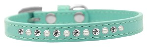 Pearl and Clear Crystal Size 14 Aqua Puppy Collar
