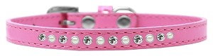 Pearl and Clear Crystal Size 12 Bright Pink Puppy Collar