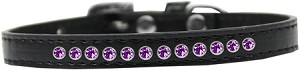 Purple Crystal Size 8 Black Puppy Collar