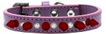 Crystal and Red Spikes Dog Collar Lavender Size 10