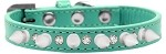 Crystal and White Spikes Dog Collar Aqua Size 10