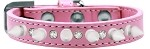Crystal and White Spikes Dog Collar Light Pink Size 10