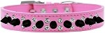 Double Crystal and Black Spikes Dog Collar Bright Pink Size 12