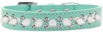 Double Crystal and White Spikes Dog Collar Aqua Size 12