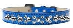 Double Crystal and Silver Spikes Dog Collar Blue Ice Cream Size 12