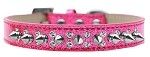 Double Crystal and Silver Spikes Dog Collar Pink Ice Cream Size 12