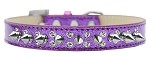 Double Crystal and Silver Spikes Dog Collar Purple Ice Cream Size 12