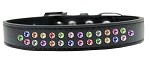 Two Row Confetti Crystal Size 12 Black Dog Collar