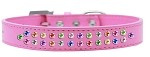 Two Row Confetti Crystal Size 12 Bright Pink Dog Collar