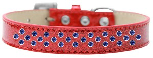 Sprinkles Ice Cream Dog Collar Blue Crystals Size 16 Red