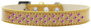 Sprinkles Ice Cream Dog Collar Bright Pink Crystals Size 14 Gold