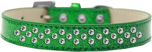 Sprinkles Ice Cream Dog Collar Clear Crystals Size 18 Emerald Green