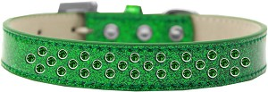Sprinkles Ice Cream Dog Collar Emerald Green Crystals Size 18 Emerald Green