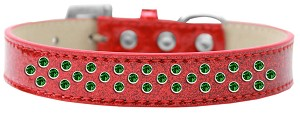 Sprinkles Ice Cream Dog Collar Emerald Green Crystals Size 20 Red