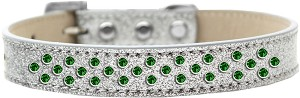 Sprinkles Ice Cream Dog Collar Emerald Green Crystals Size 16 Silver