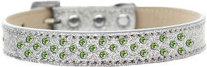 Sprinkles Ice Cream Dog Collar Lime Green Crystals Size 14 Silver