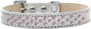 Sprinkles Ice Cream Dog Collar Light Pink Crystals Size 16 Silver