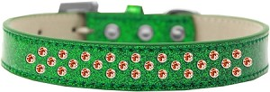 Sprinkles Ice Cream Dog Collar Orange Crystals Size 16 Emerald Green