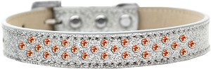 Sprinkles Ice Cream Dog Collar Orange Crystals Size 18 Silver