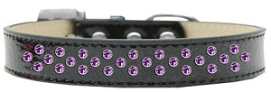 Sprinkles Ice Cream Dog Collar Purple Crystals Size 14 Black