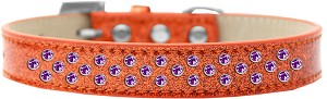 Sprinkles Ice Cream Dog Collar Purple Crystals Size 14 Orange