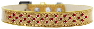 Sprinkles Ice Cream Dog Collar Red Crystals Size 16 Gold