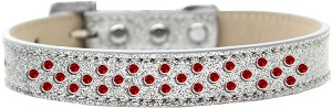 Sprinkles Ice Cream Dog Collar Red Crystals Size 14 Silver