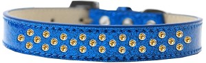 Sprinkles Ice Cream Dog Collar Yellow Crystals Size 20 Blue