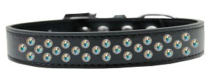 Sprinkles Dog Collar AB Crystals Size 14 Black
