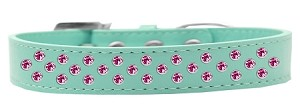 Sprinkles Dog Collar Bright Pink Crystals Size 20 Aqua