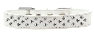 Sprinkles Dog Collar Clear Crystals Size 12 White