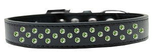 Sprinkles Dog Collar Lime Green Crystals Size 14 Black