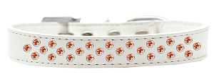 Sprinkles Dog Collar Orange Crystals Size 14 White
