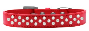 Sprinkles Dog Collar Pearls Size 16 Red