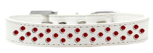 Sprinkles Dog Collar Red Crystals Size 12 White