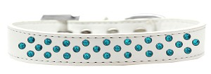 Sprinkles Dog Collar Southwest Turquoise Pearls Size 16 White