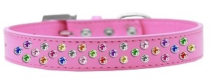 Sprinkles Dog Collar Confetti Crystals Size 20 Bright Pink
