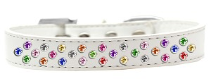 Sprinkles Dog Collar Confetti Crystals Size 16 White