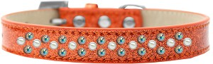 Sprinkles Ice Cream Dog Collar Pearl and AB Crystals Size 12 Orange