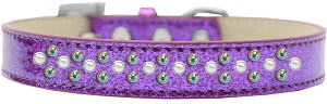 Sprinkles Ice Cream Dog Collar Pearl and AB Crystals Size 18 Purple