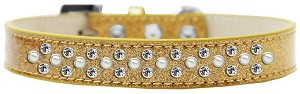 Sprinkles Ice Cream Dog Collar Pearl and Clear Crystals Size 18 Gold