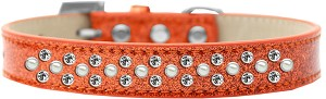 Sprinkles Ice Cream Dog Collar Pearl and Clear Crystals Size 18 Orange